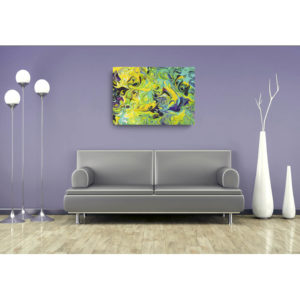 Purple, Aqua, Yellow Swirls – Canvas Print