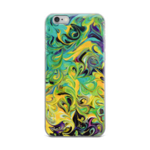 Purple, Aqua, Yellow Swirls – iPhone Case