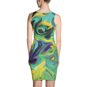 Purple, Aqua, Yellow Swirls – Dress