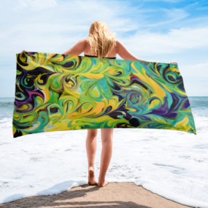 Purple, Aqua, Yellow Swirls – Towel